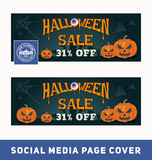 Halloween sale promotion banner for social media page cover Stock Photo