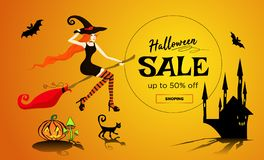 Halloween sale promotion poster, banner with a beautiful redhair witch flying on a broomstick, a black cat and dark castle royalty free illustration