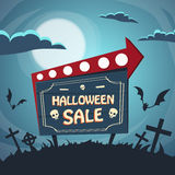 Halloween Sale Promotional Sign Board Cemetery Royalty Free Stock Photos