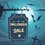 Halloween Sale Promotional Sign Board Cemetery. Flat Vector Illustration stock illustration