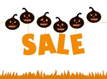 Halloween sale with pumpkins. Time for halloween sale. Sale advertisement with a lot of pumpkins. Halloween theme clean design Stock Photo