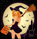 Halloween sale. Sexual shopping witch Stock Photos
