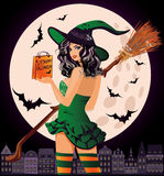 Halloween sale. Sexual urban witch. With shopping bags, vector illustration Stock Image