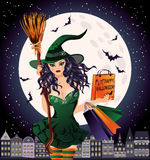 Halloween sale. Sexual urban witch. With shopping bags, vector illustration Royalty Free Stock Images