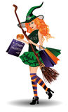 Halloween sale. Sexy redhair witch with shopping bags Royalty Free Stock Photos