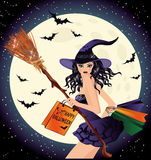 Halloween sale. Sexy witch and shopping bags. Vector illustration Royalty Free Stock Photography