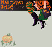 Halloween sale shopping witch card Royalty Free Stock Photography