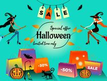 Halloween sale special offer with two young woman dark-skinned and white-skinned in costumes of witches fly on a broom in the dire stock illustration