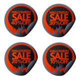 Halloween sale sticker with hand 10,20,30,40 Royalty Free Stock Photos