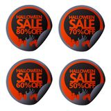 Halloween sale sticker with hand 50,60,70,80. Halloween sale sticker with hand set 50,60,70,80 Stock Photography