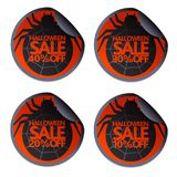 Halloween sale sticker with spider 10,20,30,40. Halloween sale sticker with spider set 10,20,30,40 stock illustration