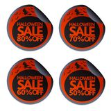 Halloween sale stickers with witch on a broomstick 50,60,70,80. Vector illustration royalty free illustration