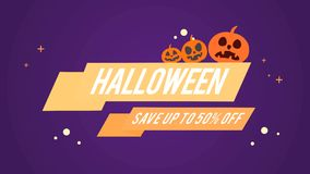 Halloween Sale Theme Save Up To 50 Off Background Animation Royalty Free Illustration