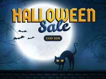 Halloween sale. Vector banner. Halloween sale banner. Background with full moon, scary trees and evil cat. Spooky night. Advertising template for holiday Royalty Free Stock Photo