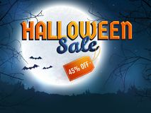 Halloween sale. Vector banner. Halloween discount banner. Background with full moon, scary trees and bats silhouettes. Spooky night. Template for advertising Stock Image
