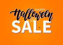 Halloween Sale vector banner with lettering, spider and web. Gre Stock Photos