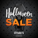 Halloween Sale vector illustration with coffin and Holiday elements on black background. Stock Photography