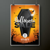 Halloween Sale vector illustration with coffin and Holiday elements on orange background. Design for offer, coupon, banner Royalty Free Stock Photography