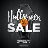 Halloween Sale vector illustration with coffin and Holiday elements on orange background. Design for offer, coupon, banner, vouche Royalty Free Stock Photos