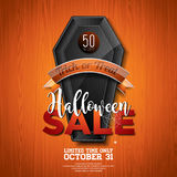 Halloween Sale vector illustration with coffin and Holiday elements on wood texture background. Design for offer, coupon, banner, Stock Images