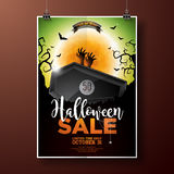 Halloween Sale vector illustration with coffin, zombie hand, bats, monn and Holiday elements on green background Stock Photo
