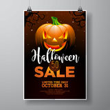 Halloween Sale vector illustration with pumpkin on black sky background. Design for offer, coupon, banner, voucher or promotional Royalty Free Stock Images