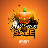 Halloween Sale vector illustration with pumpkin, cemetery and bats on orange sky background. Design for offer, coupon, banner Stock Image