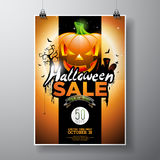 Halloween Sale vector illustration with pumpkin, cemetery and bats on orange sky background. Design for offer, coupon, banner, vou Royalty Free Stock Photography
