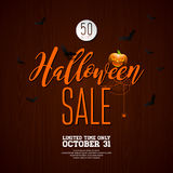 Halloween Sale vector illustration with spider and Holiday elements on wood texture background. Design for offer, coupon, banner, Stock Photo