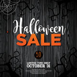 Halloween Sale vector illustration with spider and Holiday elements on wood texture background. Design for offer, coupon, banner,. Voucher or promotional poster Royalty Free Stock Photos