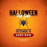 Halloween Sale vector illustration with spider and lettering on orange scary face background. Design for offer, coupon. Banner, voucher or promotional poster royalty free illustration