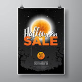 Halloween Sale vector poster template illustration with moon and bats on black sky background. Design for offer, coupon, banner, v Royalty Free Stock Photo