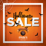 Halloween Sale vector poster template illustration with moon and bats on orange sky background. Design for offer, coupon, banner Stock Images