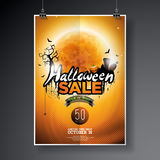 Halloween Sale vector poster template illustration with moon and bats on orange sky background. Design for offer, coupon, banner, Stock Image