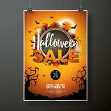 Halloween Sale vector poster template illustration with moon and bats on orange sky background. Design for offer, coupon, banner, Royalty Free Stock Photos