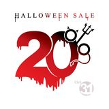 Black stains drawn figures 20%. The devil`s forks and horns feature in the form of a percent sign. Halloween Sale. Vector template banner of holiday sale. Black royalty free illustration