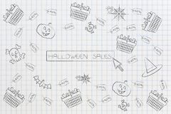 Halloween sales button surrounded by full shopping baskets and p. Halloween sales concept: button surrounded by full shopping baskets and price tags and spooky Stock Image