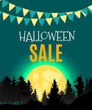 Halloween Sate Poster Background Template. Vector illustration Royalty Free Stock Photo
