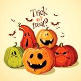 Halloween-Satz lustige Kürbise stockbild
