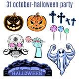 Halloween-Satz, Sammlung von Halloween-Ikone Vektor Stockbilder