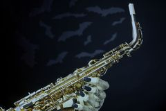 Halloween Saxophone and Bats Stock Photography