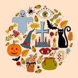 Halloween scarabocchia l'insieme di vettore Fotografia Stock Libera da Diritti