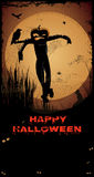 Halloween Scarecrow. /Night with full moon,scarecrow, crow,Happy Halloween text and copy-space Stock Photo