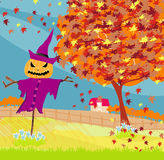 Halloween scarecrow, Autumn rural landscape Royalty Free Stock Images