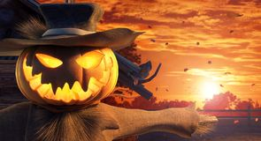 Halloween scarecrow with carved pumpkin head, autumn background stock illustration
