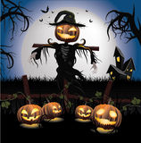Halloween Scarecrow. And carving Halloween pumpkins Royalty Free Stock Images
