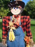 Halloween Scarecrow Welcomes Visitors Stock Photos