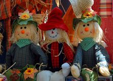 Halloween scarecrow dolls Royalty Free Stock Image