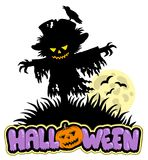 Halloween scarecrow with full moon Stock Photography