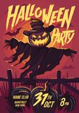 Halloween Scarecrow with a Jack head. Vector illustration Stock Image